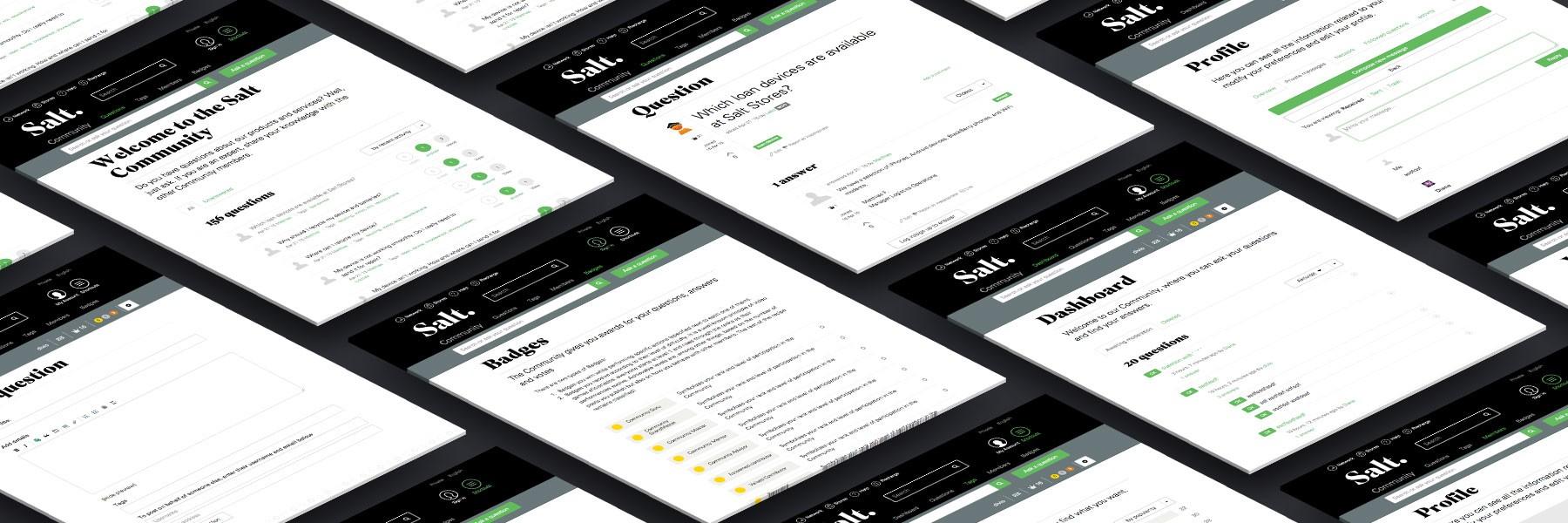 Salt Community website screens by Divio