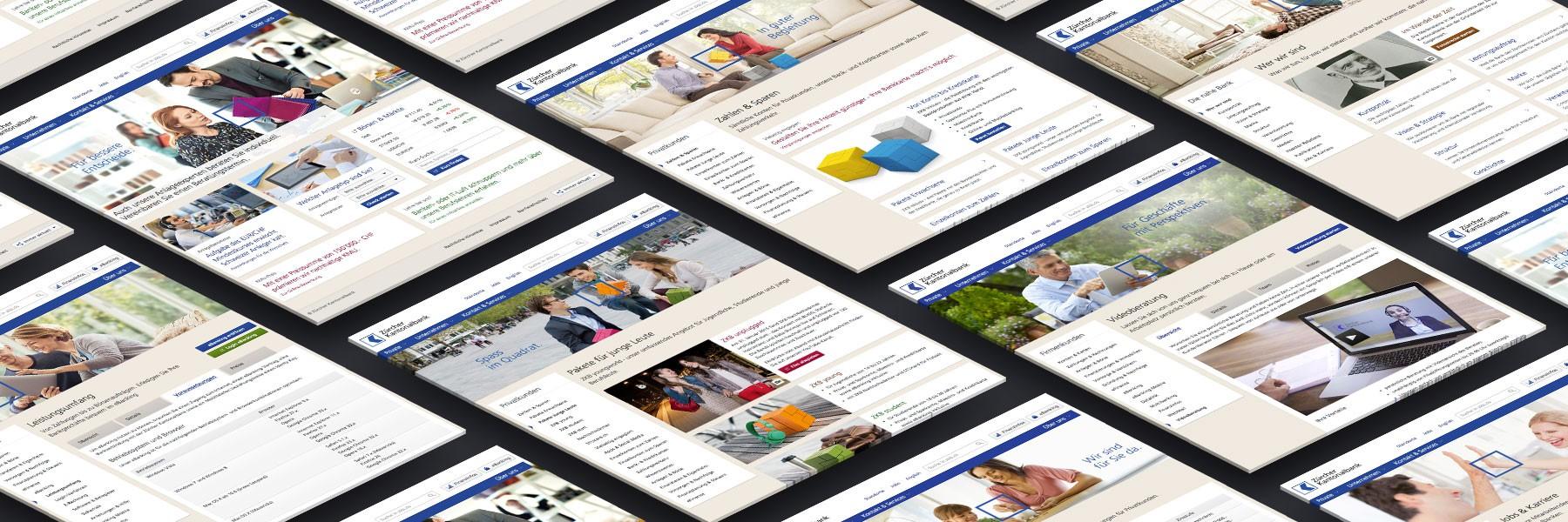 Zürcher Kantonalbank new website screens by Divio