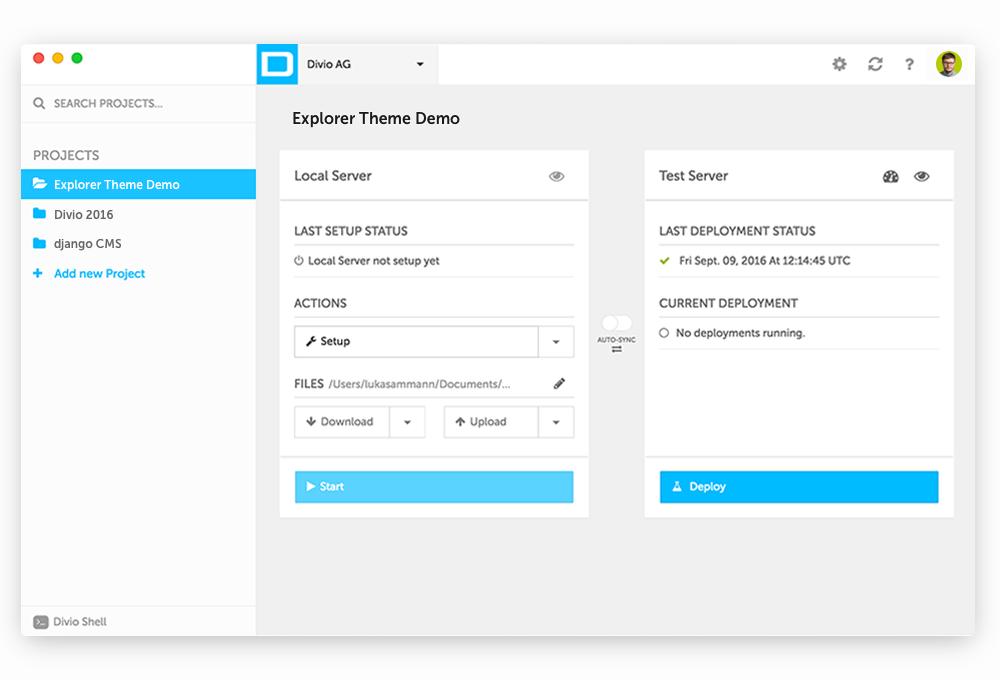 Aldryn Desktop App screen