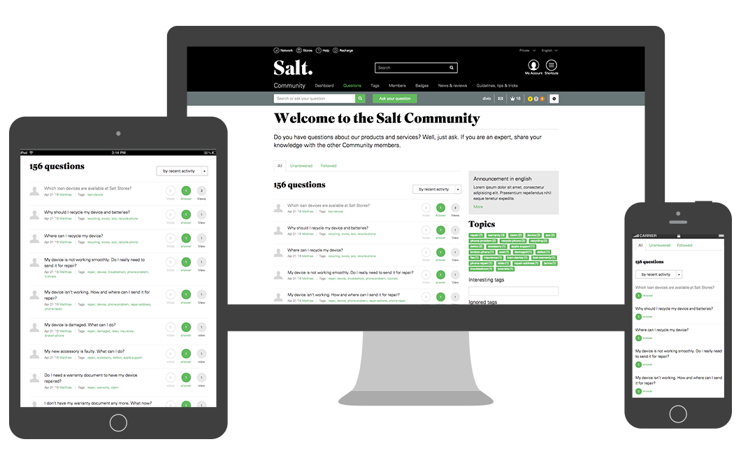 Salt Community responsive website works on desktop, tablet and mobile phones