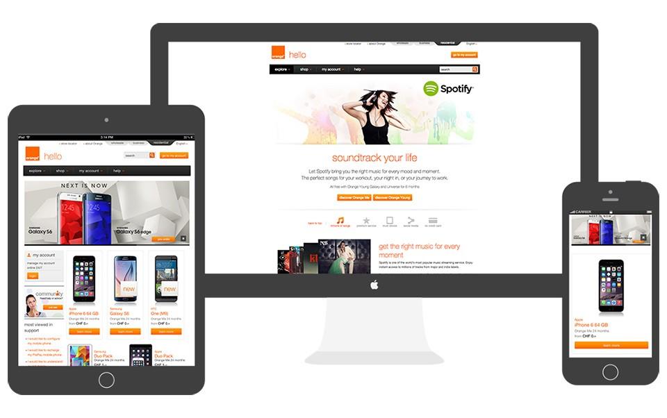 Orange responsive website works on desktop, tablet and mobile phones