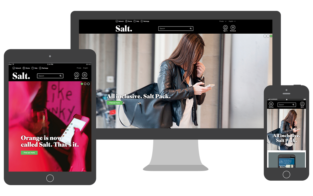 Salt responsive website works on desktop, tablet and mobile phones
